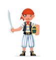 boy pirate child costume masquerade teen party vector image vector image