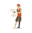 brave pirate sailor character with wooden leg vector image vector image