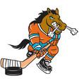 bronco hockey sports logo mascot vector image vector image