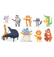 cartoon animals with music instruments giraffe vector image