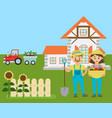 cartoon farm farmers with eco production from vector image