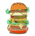 cartoon image of huge sandwich vector image vector image
