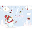christmas background with snowman vector image vector image