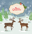christmas card with deers in winter forest vector image vector image