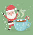 christmas card with santa claus and chocolate cup vector image vector image