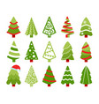 christmas trees color flat vector image vector image