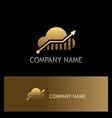 cloud arrow technology gold logo vector image vector image