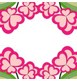 colorful heart flower plant border frame close up vector image vector image