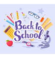 colorful of many school supplies on blue bac vector image vector image