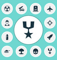 combat icons set with fighter nuclear explosion vector image