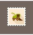 Combine harvester flat stamp vector image vector image