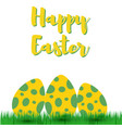 decorative easter eggs on green grass vector image vector image