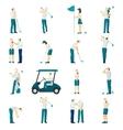 golf people flat set vector image vector image