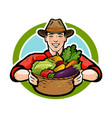 happy farmer holding a wicker basket full of fresh vector image vector image
