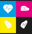 heartbeat sign white icon vector image vector image