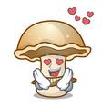 in love portobello mushroom mascot cartoon vector image vector image