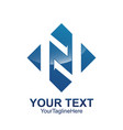 initial letter n logo template colored blue vector image vector image