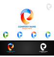 letter p for digital logo marketing financial vector image vector image