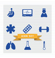 medical icon set flat style vector image vector image