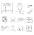 metro subway outline icons in set collection for vector image vector image