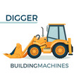 modern solid building machine digger with spacious vector image vector image
