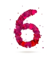 Number six 6 made from red hearts Love alphabet vector image