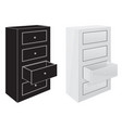 office cabinet drawers black silhouette and 3d vector image