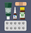 plaster and pills blister set vector image vector image