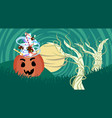 pumpkin with candy sweets treat or trick banner vector image