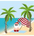 santa claus in the summer holiday vacation vector image vector image