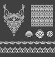 set of decorative lace elements vector image