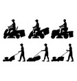 set of man with lawnmower vector image vector image