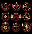 set of vintage elements heraldry labels stylized vector image vector image