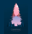 silhouette summer camp poster with lake vector image vector image