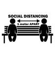 social distancing 1 meter apart stick figure on vector image vector image