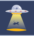 ufo abducting a cow silhouette alien space ship vector image