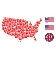 united states map collage of stop hand vector image