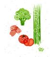 vegetable set broccoli potato tomato spring vector image