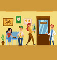 vet clinic interior with pets and people flat vector image vector image