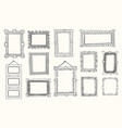 vintage photo frame in doodle style hand drawn vector image vector image