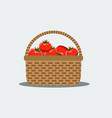 wicker basket with fresh tomatoes vector image vector image