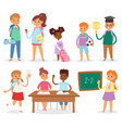 back to school kids boys and girls children school vector image