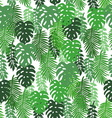 On a white background tropical leaves pattern vector image