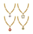 set necklace gems jewelry isolated vector image