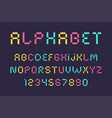 pixel font and alphabet vector image