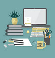 abstract workaholic desk top icons on teal vector image vector image