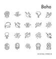 Boho elements line icons set editable