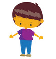 boy in purple t-shirt and blue trousers in flat vector image vector image