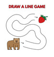 cartoon bear draw a line game for kids vector image vector image