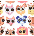 cartoon cute childish animals faces vector image vector image